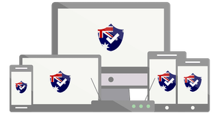 Range of devices with Australian flag shield logo