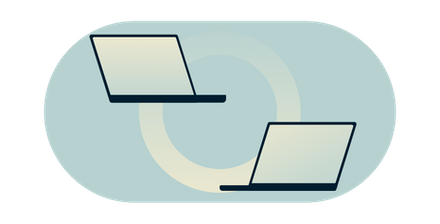 Two computer monitors linked by a gradient circle.