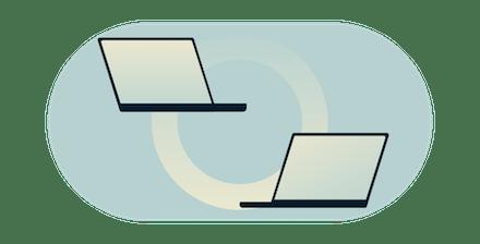 จอคอมพิวเตอร์สองจอเชื่อมโยงกันด้วยวงกลมไล่ระดับ