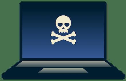 Een hacker werkt op een laptop