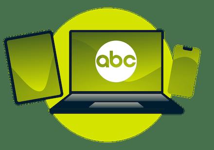 Titta på ABC på din smartphone, dator och tablet.