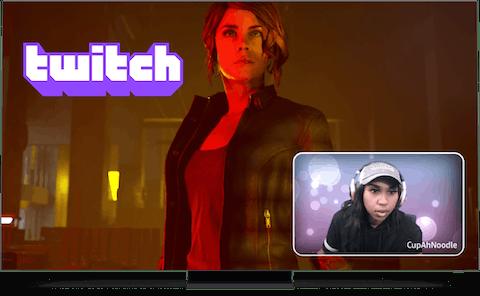 Twitch logo, game en streamer op scherm.