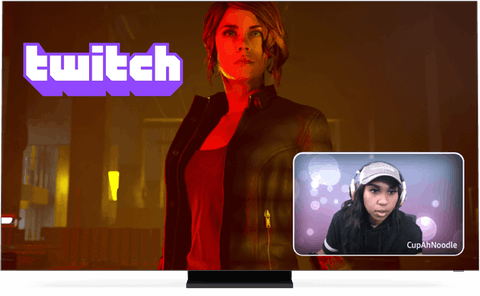 Twitch logo, game, and streamer on screen.