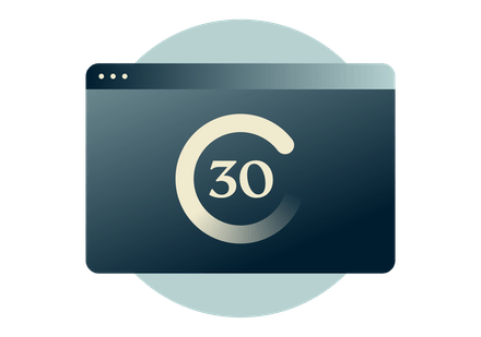 30 day money back guarantee on a browser window.