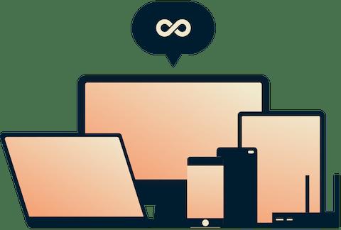 Obegränsad bandbredd - En evighetssymbol ovanför ett urval av enheter.