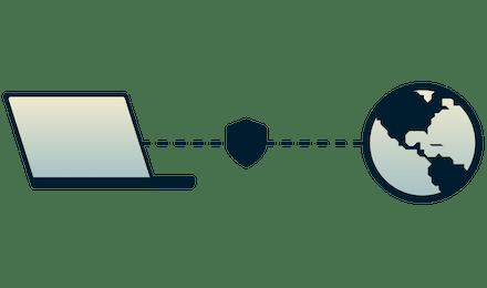 Mies, joka käyttää VPN:llä suojattua kannettavaa tietokonetta.