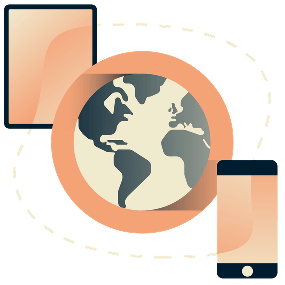 Tablet and phone surrounding a globe.