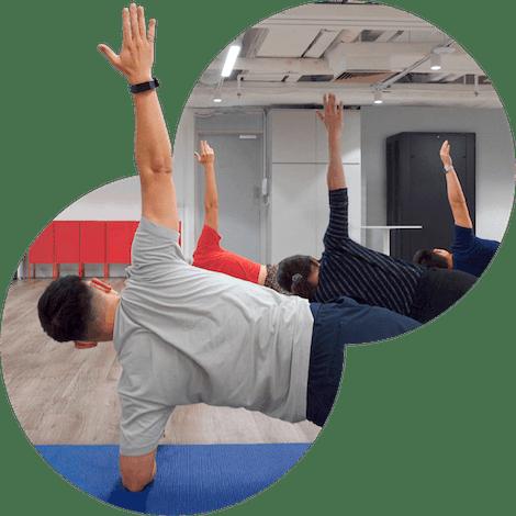 Work-Life Balance at ExpressVPN employees doing yoga