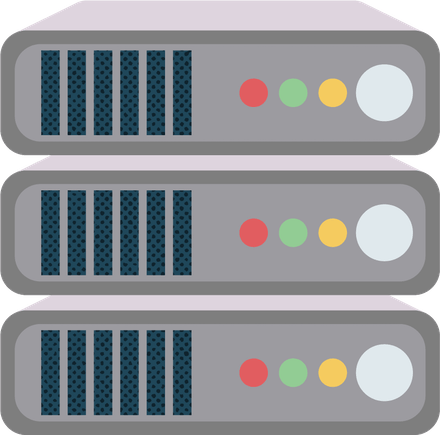 ISP servers stacked on top of each other