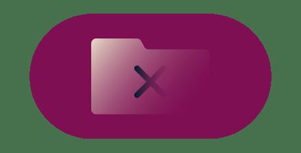 Cross symbol over a folder icon.