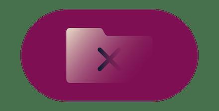 Símbolo de cruz sobre um ícone de pasta.