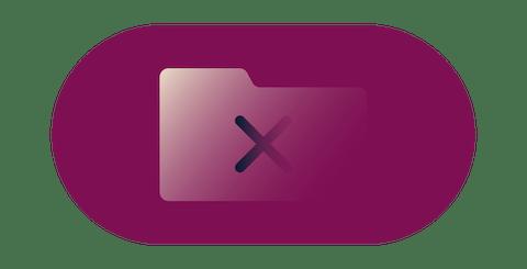 """Rotes """"Nein""""-Symbol über einem Ordner, der Verbindungsprotokolle und Aktivitätsprotokolle enthält."""