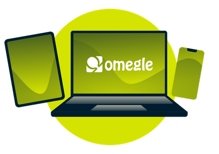 A laptop, tablet, and phone, with the Omegle logo.