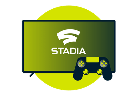 Screen and a controller showing the Google Stadia logo.