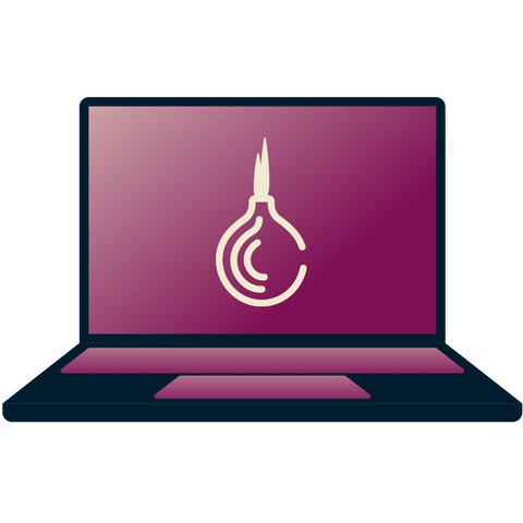 Tor onion symbol on a laptop.