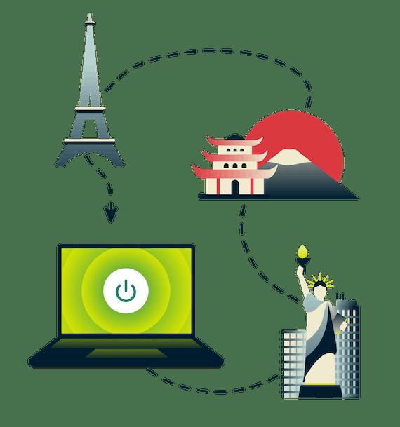 Eiffeltårnet, Fuji-fjellet, Frihetsgudinnen og en datamaskin som er koblet til VPN.