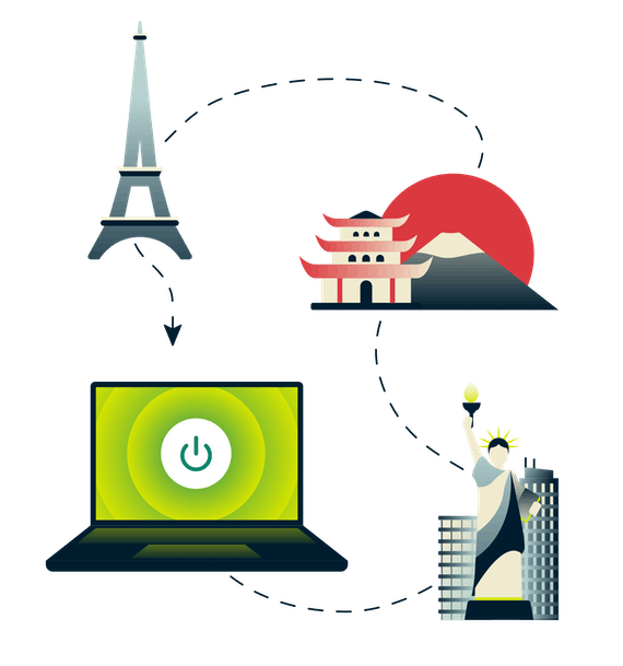 Eiffel Tower, Mount Fuji, Statue of Liberty, and a computer connected to VPN.