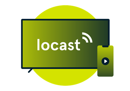 Locast-loggan på TV-skärm bredvid en mobiltelefon.