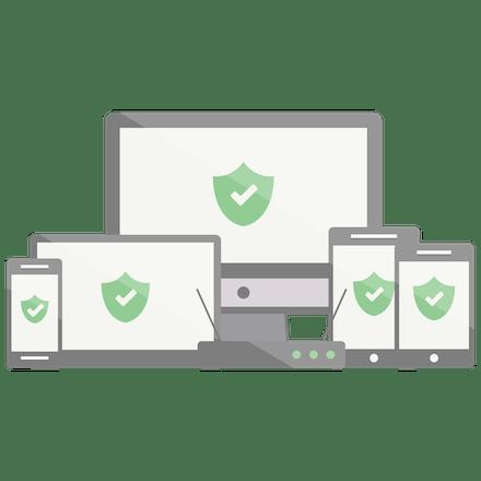 Escudos verdes com marcas de verificação em um sortimento de dispositivos.