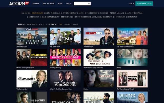 Acorn TV dashboard.