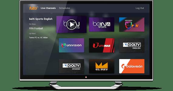 Schermata home di fuboTV sullo schermo di una smartTV.