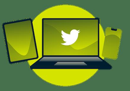Twitter logoları olan dünya.
