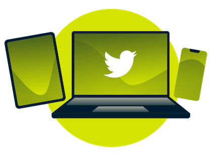 A laptop, tablet, and phone, with the Twitter logo.