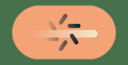 Wischgeste durch das Puffersymbol, um zu verdeutlichen, dass eine gedrosselte Internetverbindung übersprungen wird.