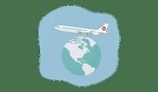 VPN plane over a globe.