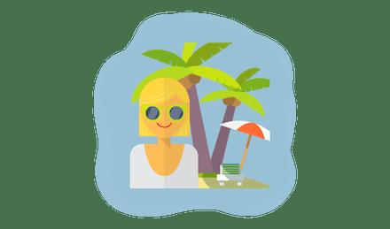 Kvinna på en ö.