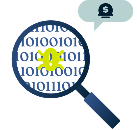 A magnifying glass with a bug in it and a reward symbol.