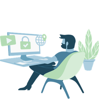 VPN user at a desk, browsing securely, unlocking content, and changing his location.