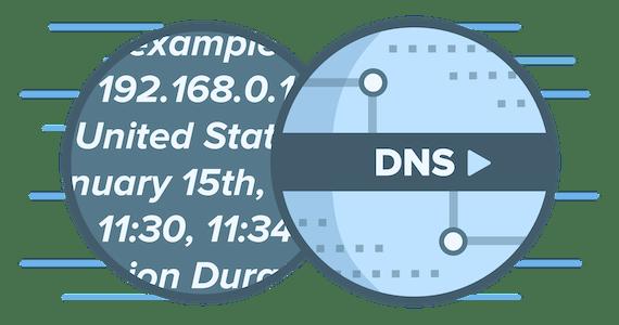 Логотип DNS, представляющий, как сторонние службы DNS регистрируют данные, позволяющие установить вашу личность.