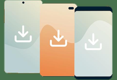 Téléphones avec le symbole de téléchargement.