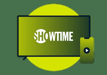 Kannetava ja puhelin, joilla näkyy Showtimen logo.