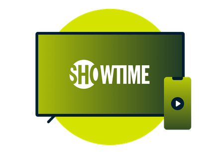 A laptop and phone with the Showtime logo.