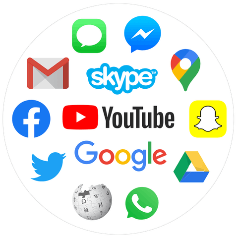 Logos for online services, like YouTube, Google, Skype, Facebook, Snapchat, and more.
