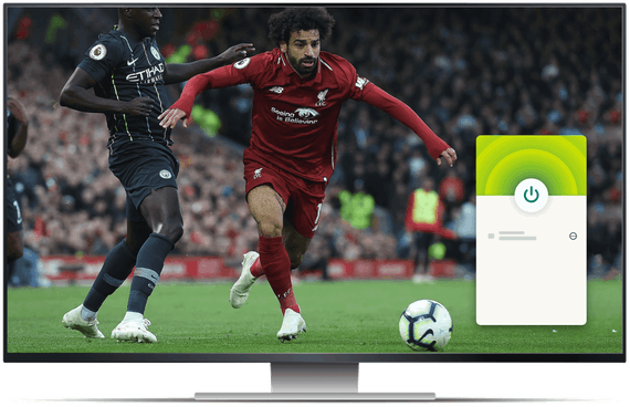 Stasjonær dataskjerm med strømming av fotball på beIN Sports og VPN-appen.