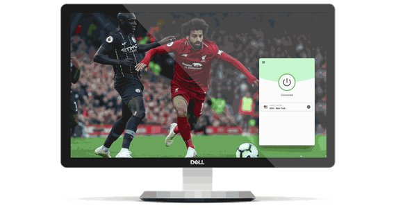 Desktop monitor with beIN Sports football stream and VPN app.