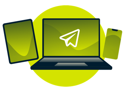Telegram logo on a laptop, phone, and tablet.