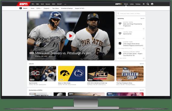 ESPNs hjemmeside på en desktopskærm