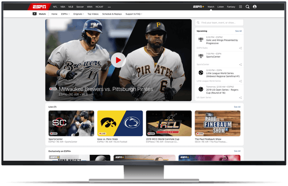 ESPN's homepage on a desktop screen