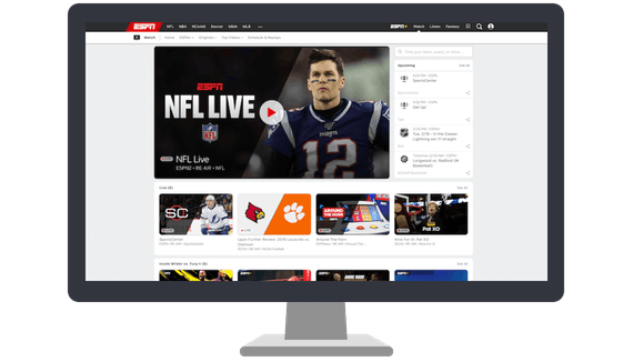Strona główna ESPN na ekranie komputera