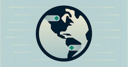 Globe on green background illustrating high speeds.