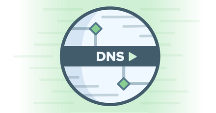 โลโก้วงกลม DNS บนพื้นหลังสีเขียวแสดงความเร็วสูง