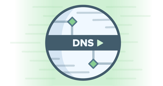 Circular DNS logo on green background illustrating high speeds
