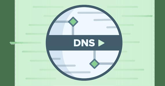 Rundes DNS-Logo vor grünem Hintergrund stellt Höchstgeschwindigkeit dar