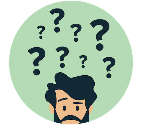 A person's head surrounded by question marks.