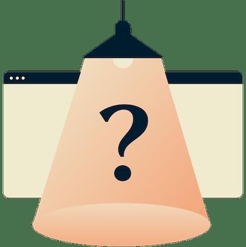 Punto interrogativo sotto una lampada.