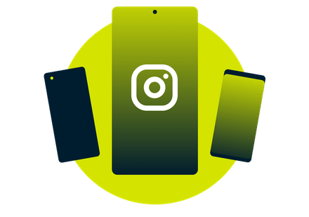Mobile devices with the Instagram logo.